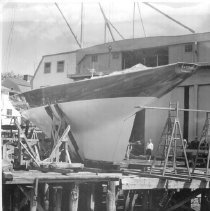 "Image of PHOTOGRAPH, SAILING YACHT ""EASTERNER"" UNDER CONSTRUCTION IN GRAVES' YARD, F"