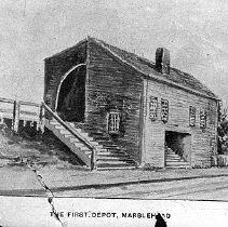 Image of PHOTOGRAPH, SKETCH OF THE FIRST RAILROAD STATION ON PLEASANT STREET