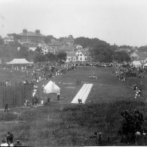 Image of PHOTOGRAPH, FIREMAN'S MUSTER AT SEASIDE PARK (ROADS SCHOOL IN BACKGROUND)