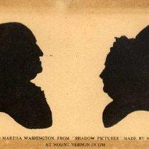 Image of POSTCARD, SILHOUETTES OF GEORGE WASHINGTON AND MARTHA WASHINGTON