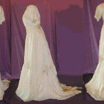 Image of DRESS,  WEDDING, CREAM CREPE DE CHINE. (ACC. BOOK SAYS 2PC.) (EXQUISITE PIE