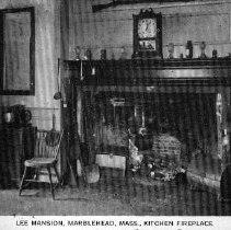 Image of POSTCARD, JEREMIAH LEE MANSION, 161 WASHINGTON ST., KITCHEN, ROOMS 104 & 10