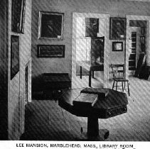 Image of POSTCARD, JEREMIAH LEE MANSION, 161 WASHINGTON ST., LIBRARY ROOM, ROOMS #20