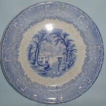 "Image of PLATE, ""VENUS"" PATTERN - ENGLISH EARTHENWARE 'PEARLWARE' PLATE WITH WHITE GROUND & BLUE �