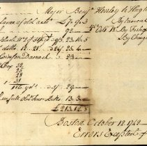 Image of BILL, MAJOR BENJAMIN HENDLEY TO HUGH IANS, FOR FISH & TEXTILES - HANDWRITTEN BILL, FROM MAJOR BENJAMIN HENDLEY TO HUGH IANS, FOR �FISH & TEXTILES, LISTED BY MONTH (SEPTEMBER - OCTOBER 1742)
