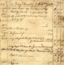 Image of BILL, DEACON BENJAMIN HENDLEY, WILLIAM GALE ESTATE - HANDWRITTEN BILL, BENJAMIN HENDLEY, WILLIAM GALE, MOLASSES, �LINES, HORSE & CHAIR, WILLIAM WILLIAMS FOR SARAH GALE, EXECUTRIX �OF WILLIAM GALE ESTATE