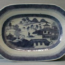 "Image of PLATTER, OCTAGONAL, (1-27-33) ""CANTON"" - CHINESE EXPORT PORCELAIN BLUE & WHITE PLATTER. ORIENTAL SCENE �IN UNDERGLAZE BLUE.  BORDER WITH RURAL SCENE. KNOWN AS CANTON."