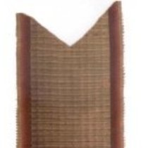 "Image of BOOKMARK, NEEDLEWORK OF LYRE MADE FROM GLASS AND METAL BEADS - 2.5"" WIDE LENGTH OF RUSSET TONED SILK RIBBON WITH CENTRAL AREA OF� RIBBED, VELVET.  ATTACHED AT MIDDLE IS A 3"" X 2.5"" PIECE OF �METALLIZED, PERFORATED PAPER EMBELLISHED WITH DESIGN OF A LYRE �CREATED WITH GLASS & METAL BEADS."