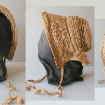 "Image of BONNET, (ACC. BOOK READ; ""COOT-STILE"")OR 'POKE' STYLE - COTTON/SILK TAN/CREAM/BROWN STRIPED BONNET .  ROUND BACK, �GATHERED CURTAIN, SHIRRED BODY WITH RINGS OF CANE. INTERIOR �(AROUND HEAD) LINED WITH WOVEN STRAW. TIES AT OUTER EDGES OF RIM."
