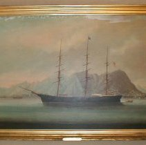 "Image of PAINTING, ""SHIP 'DANUBE' OFF HONG KONG"" (CAPT. JOHN D. WHIDDEN � WAS MASTER OF THIS VESSEL) - OIL ON CANVAS PAINTING OF A THREE MASTED SHIP  ""DANUBE"",  �FLYING AN AMERICAN FLAG & PENNANT MARKED ""D"", SAILING TO THE �LEFT OF THE VIEWER."