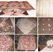 Image of QUILT, (PATCHWORK) (FRONT & BACK COVERS SHOWN IN TOP OF IMAGE & �CLOSEUPS OF VARIOUS SECTIONS OF FRONT SHOWN IN BOTTOM OF IMAGE) - HAND-STITCHED, COTTON PATCHWORK QUILT IN A DIAMOND PATTERN. �INTERLINING IS RAW WOOL. COLORS: BLUE, BROWN, RED, PINK, BLACK & �WHITE. PATCHES ARE PIECES OF EARLY CHINTZ.  SOME OF THE PIECES �ARE VERY SMALL. LINING: COTTON, GEOMETRIC BLOCK PRINT VINE IN �RED & WHITE.  QUILTING IS EXECUTED IN ROWS OF ELLIPTICAL HALF �CIRCLES .