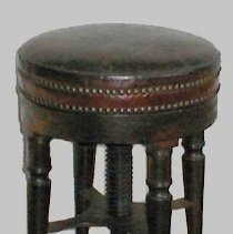 Image of STOOL, OWNED BY ELBRIDGE GERRY - MAHOGANY FOUR LEGGED STOOL WITH LEATHER COVERED ADJUSTABLE SEAT � FRAME, WITH FOUR TURNED LEGS.