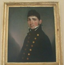 """Image of PORTRAIT, LT. JOHN GLOVER COWELL (B. 9/18/1780 D. 4/18/1814) - OIL ON CANVAS OF JOHN GLOVER COWELL SHOWING UPPER TORSO & DRESSED IN �ENSIGN'S (JR. NAVAL OFFICER) UNIFORM (HE WAS COMMISSIONED ABOARD �THE FRIGATE ESSEX WHILE ON ROUTE TO S. AMERICA-A MOST UNUSUAL �CIRCUMSTANCE & INDICATION OF MERIT), DARK HAIR IN RINGLETS, GOLD �EARRING (LEFT EAR), TURNED SLIGHTLY LEFT OF VIEWER.  SIMPLE 3"""" �FRAME, GOLD LEAFED. LT. COWELL WAS THE GRANDSON OF GEN. JOHN �GLOVER, WHOSE DAUGHTER HANNAH MARRIED CAPT. RICHARD COWELL.  HE �WAS BADLY WOUNDED, LOSING A LEG IN BATTLE OF VALPARAISO, CHILE IN� ACTION BETWEEN HIS FRIGATE 'ESSEX' & HMS' PHOEBE' & HMS 'CHERUB'� DURING WAR OF 1812 & DIED THERE. ENTERED NAVY AS A MASTER JAN. �21, 1809. HIS GALLANTRY & COURAGE UNDER SEVERE PAIN UNTIL HIS �DEATH BROUGHT HIM HONOR & BURIAL IN THEIR PRINCIPAL CHURCH �GROUND, A MOST UNUSUAL HONOR FOR A FOREIGNER."""