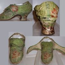 Image of SLIPPERS/SHOES, GREEN BROCADE - PAIR OF WOMEN'S SHOES.  BRIGHT GREEN BROCADE WITH SHADES OF PINK & GREEN FOLIATED DESIGN. HAND STITCHED. NAILS IN SOLE. LEATHER SOLE. CHUNKY, FLARED HEEL COVERED WITH SELF FABRIC.  RANDED FORM OF CONSTRUCTION.  INTERIOR LINED WITH LINEN.  SQUARE TONGUE WITH ROUNDED LATCHETS.