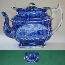 """Image of TEAPOT & COVER, """"LANDING OF GENERAL LAFAYETTE..."""" - ENGLISH STAFFORDSHIRE PEARLWARE TEAPOT.  TRANSFER PRINTED IN � UNDERGLAZE BLUE & WHITE.  SCENE: """"LANDING OF GENERAL LAFAYETTE �AT CASTLE GARDEN NEW YORK, 16 AUGUST 1824"""""""