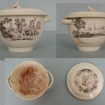 Image of BOWL, (SUGAR) & COVER - ENGLISH CREAMWARE SUGAR BOWL & COVER.  CREAM GROUND.  TWO STRAP� HANDLES ON EITHER SIDE OF BOWL.  BLACK TRANSFER PRINTED  DESIGN �DEPICTING PEOPLE WITH LAMB & LANDSCAPE WITH CHURCH. COVER HAS �WIDE FLANGE RIM WITH FLOWER FINIAL & TRANSFER PRINTED LILIES.  �ALL DECORATION IN BLACK UNDERGLAZE.