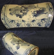 Image of PILLOW - CHINESE EXPORT PORCELAIN PILLOW.  WHITE GROUND.  UNDERGLAZE � CHRYSANTHEMUM & STYLIZED DESIGN IN BLUE.  CHINESE CHARACTERS ON �ENDS.
