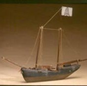 Image of MODEL, FISHING SCHOONER - PAINTED, WOODEN MODEL OF FISHING SCHOONER GREEN & BROWN HULL, �TWO CENTER MASTS, ONE MAST EACH FORE & AFT, TWO COILS OF ROPE �AT PORT & STARBOARD SIDES.  FOREWARD MAST HAS WHITE FLAG WITH �PAINTED GREEN & BROWN PINE TREE.