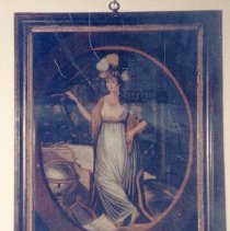 Image of PAINTING, (EGLOMISE) EMBLEM OF EUROPE - REVERSE PAINTING ON GLASS OF THE CONTINENT OF EUROPE WITH THE � INSCRIPTION: EMBLEM OF EUROPE.