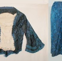 Image of DRESS, (GOWN) BLUE BROCADE, WORN BY MARY GLOVER AT LAFAYETTE BALL, (TUESDAY