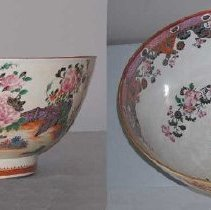 """Image of BOWL, (PUNCH) - FRENCH HARD PASTE PORCELAIN PUNCH BOWL IN FAMILLE ROSE PALETTE. � EXTERIOR WITH GARDEN & FENCE ENCIRCLING THE WHOLE EXTERIOR. BASE �RIM WITH SPEARHEAD & CHINESE MEANDER IN IRON RED & GILT. INTERIOR� RIM WITH MEDALLIONS ALTERNATING WITH FISH SCALE & NETWORK.  �BELOW WITH """"C"""" SCROLLS & FLORALS.  3 FAMILLE ROSE FLORALS IN WELL�  & 1 IN CENTER WELL.  ALL IN OVERGLAZE POLYCHROME ENAMELS."""