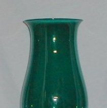 Image of CHIMNEY GLASS, (HURRICANE CHIMNEY) - ENGLISH GREEN GLASS HURRICANE ( ALSO CALLED SMOKE SHADE) LARGE � BALUSTER SHAPE WITH FLANGED TOP & BOTTOM RIMS & FOLDED AT �EITHER END.