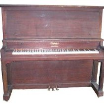 Image of PIANO - A MAHOGANY UPRIGHT PIANO.