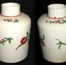 Image of CANISTER, (TEA) (2 SIDES OF OBJECT SHOWN IN IMAGE) - ENGLISH CREAM COLORED TEA CANISTER WITH OVERGLAZE POLYCHROME � ENAMELS OF FLORALS.