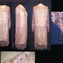 """Image of DRESS, OWNED BY HELEN PAINE DOANE (FRONT, SIDE, BACK & DESIGN � ELEMENTS SHOWN IN IMAGE) - 1920S STYLE DRESS WITH TUBE-SHAPED, SLEEVELESS, OFF-WHITE SILK �CREPE DE CHINE, V-NECK, MID-CALF SLIP & LAVENDER FERN PATTERNED �LACE OVERLAY.  THE OVERLAY IS ALSO A TUBE SHAPE BUT HAS A SCOOP �NECK RISING ABOUT 3"""" INCHES ABOVE THE SLIP.  NECKLINE IS �EMBELLISHED WITH ROW OF FRENCH KNOTS EDGING THE LACE . THE �OVERLAY HAS LONG SLEEVES THAT TERMINATE IN A TIPPET WITH A SMALL �1"""" LONG EMBELLISHMENT OF LAVENDER & CLEAR CRYSTALS. THE BACK OF � THE OVERLAY HAS A 3/4"""" UNTUCKED HEM CIRCLING THE BACK HIPLINE. AT� THE HIPLINE, BOTH SIDE SEAMS HAVE 4"""" OF GATHERING & THE BOTTOM �OF THE OVERLAY, WHICH EXTENDS ABOUT 7"""" BELOW THE SLIP HAS A �SCALLOPED FINISHING."""