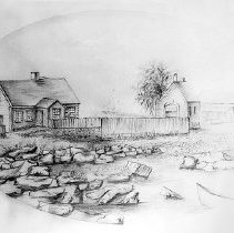 Image of PHOTOGRAPH, A DRAWING OF THE OLD FISH WAREHOUSE WITH LEAN-TO (RIGHT) ON FRO