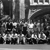 Image of PHOTOGRAPH, 1939 HIGH SCHOOL FOOTBALL TEAM (IN NEW HAVEN) - BLACK & WHITE MATTE PRINT WITH NARROW WHITE BORDER; IMAGE OF �THE HIGH SCHOOL FOOTBALL TEAM AT YALE IN NEW HAVEN.