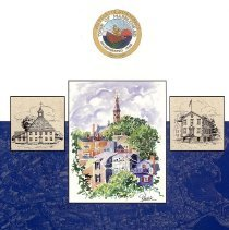 Image of BOOKLET, 350TH ANNIVERSARY, MARBLEHEAD'S INCORPORATION AS A TOWN - PAPER BOUND BOOKLET WITH TITLE & IMAGE IN POLYCHROME INK ON �COVER.  CONTAINS A NUMBER OF BLACK & WHITE IMAGES, MUCH �HISTORICAL INFORMATION ABOUT THE TOWN & PEOPLE AS WELL AS MANY �ADVERTISEMENTS FOR LOCAL BUSINESSES.