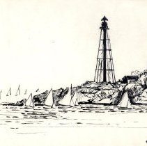 Image of CARD, DRAWING, (COPY) SAILBOATS AT MOUTH OF HARBOR BY LIGHTHOUSE - BETTE'S YEARLY CHRISTMAS CARD DRAWING.  PEN & INK DRAWING SHOWING� IMAGE OF SAILBOATS COMING INTO THE MOUTH OF MARBLEHEAD HARBOR �WITH THE LIGHTHOUSE BEHIND THEM.