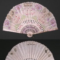 "Image of FAN, ""SOUVENIR"" - SEMI-CIRCULAR FAN.  WOODEN STICKS & PAPER LEAVES & LACE INSERTS. � GUARD STICKS & STICKS ARE PAINTED WHITE WITH HAND PAINTED, �POLYCHROME FOLIATED DESIGNS & GILT EMBELLISHMENTS.  LEAVES ARE �HAND PAINTED WITH FOLIATED DESIGNS (ON 1 SIDE) WITH 3 LACE CUT �OUTS.  GILT HIGHLIGHTS ARE ON BOTH SIDES OF FAN.  METAL RIVET & �LOOP.  ""LA ROCHELLE   1906"" IS HAND PAINTED ON 1 GUARD STICK."