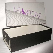 """Image of BOX, (SHOE) (STORED 2005.029A&B-SHOES, (PR.) (WOMAN'S) - RECTANGULAR, CARDBOARD SHOE BOX WITH SEPARATE LID.  BODY OF BOX �IS BLACK WITH COMPANY NAME PRINTED IN GRAY & COVER IS GRAY & �BLACK WITH COMPANY NAME PRINTED IN PURPLE.  INVENTORY NUMBER, �""""BLACK SUEDE 9 M"""" IS STAMPED ON 1 SIDE OF BODY OF BOX."""