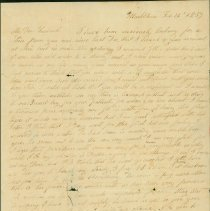 """Image of LETTER, DELIVERANCE LINDSAY TO HER HUSBAND CAPT. JOSEPH � LINDSEY, SHIP """"TRESCOTT"""" IN NEW ORLEANS & A NOTE TO HER � SON JOSEPH W. LINDSEY  - HANDWRITTEN LETTER FROM DELIVERANCE LINDSEY TO HER HUSBAND CAPT. � JOSEPH LINDSEY OF THE SHIP """"TRESCOTT"""" IN NEW ORLEANS, WITH A NOTE �TO THEIR SON JOSEPH W. LINDSEY AT THE END.  RELATION OF FAMILY �NEWS & ENCOURAGING JOSEPH W. TO FIND SOME TRADE ASHORE."""