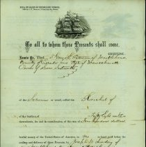 "Image of BILL OF SALE, GEORGE E. PITMAN TO JOSEPH W. LINDSEY, �1/16TH PART OF SCHOONER ""RICOCHET"". - PARTIALLY HANDWRITTEN BILL OF SALE FROM GEORGE E. PITMAN TO JOSEPH W. LINDSEY  FOR ONE-SIXTEENTH �SHARE OF THE SCHOONER ""RICOCHET"".  WITNESSED BY N. H. COATES, �JUSTICE OF THE PEACE.  SIGNED & SEALED BY GEORGE E. PITMAN, 30 �MARCH 1869.  RECORDED BOOK 6, PAGE 37 BY N. H. ATKINS, REGISTER �OF SALES & TRANSFERS.  GEORGE E. PITMAN=1/4 SHARE, WILLIAM GOLDTHWAIT=1/4 SHARE, JOSEPH W. LINDSEY=1/16 SHARE, WILLIAM F. MCCABE=1/16 SHARE, JOHN PITMAN=2/16 SHARE, THOMAS GARNEY=1/4 SHARE"