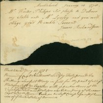 Image of RECEIPT, IN POUNDS & SHILLINGS, FROM CAPT. NATHANIEL LINDSEY, A PART SHARE OF MOLASSES & SALT TAKEN AS A PRIZE ON CAPT. �WILLIAM STEWARD'S LAST CRUISE AGAINST THE ENGLISH & LETTER TO WORTER PHILIPS FOR A TABLE - HANDWRITTEN RECEIPT, IN POUNDS & SHILLINGS, FROM CAPT. �NATHANIEL LINDSEY FOR A PART SHARE OF MOLASSES & SALT TAKEN AS A PRIZE ON CAPT. WILLIAM STEWARD'S LAST CRUISE AGAINST THE �ENGLISH.  SECOND PART OF DOCUMENT IS A LETTER TO WORTER PHILIPS �REQUESTING HIM TO DELIVER A TABLE TO MR. LINDSEY, BY JAMES �RICHARDSON.