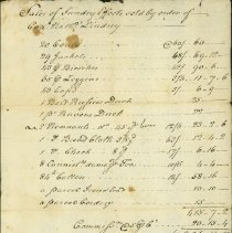 Image of RECEIPT, SALE OF CLOTHING & FABRIC, ORDER OF CAPT. NATHANIEL �LINDSEY, BY PROCTER & LOWELL, AGENTS. - HANDWRITTEN RECEIPT FOR SALE OF CLOTHING & FABRIC BY ORDER OF CAPT. NATHANIEL LINDSEY, BY PROCTER & LOWELL, AGENTS.
