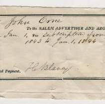 Image of RECEIPT, JOHN ORNE FROM SALEM ADVERTISER AND ARGUS BY H. BLANEY, SUBSCRIPTION  - PREPRINTED RECEIPT WITH HANDWRITTEN ENTRIES.