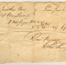 Image of RECEIPT, PETER LANDERS TO JONATHAN ORNE FOR SUGAR. - HANDWRITTEN RECEIPT.