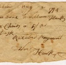 Image of RECEIPT, WILLIAM HAWKY TO JONATHAN ORNE FOR 6 CHAIRS & DESK. - HANDWRITTEN RECEIPT.
