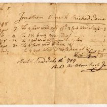 Image of RECEIPT, RICHARD JAMES TO JONATHAN ORNE FOR CORD WOOD, ETC. - HANDWRITTEN RECEIPT.