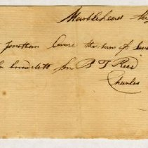 Image of RECEIPT, CHARLES TREADWELL FROM JONATHAN ORNE, MONEY FOR R. J. REIS - HANDWRITTEN RECEIPT.