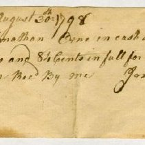Image of RECEIPT, JOSEPH POOR TO JONATHAN ORNE FOR 101 LB. LEATHER - HANDWRITTEN RECEIPT.