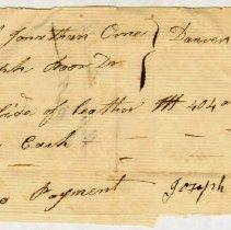 Image of RECEIPT, JOSEPH POOR TO JONATHAN JR. & JOHN ORNE FOR 404 LB. LEATHER - HANDWRITTEN RECEIPT.