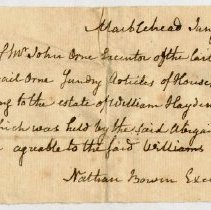 Image of RECEIPT, JOHN ORNE TO NATHAN BOWEN, EXECUTOR, FOR SUNDRY ARTICLES USED BY MRS. ABIGAIL  ORNE FROM ESTATE OF WM. HAYDEN - HANDWRITTEN RECEIPT.