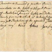 Image of RECEIPT, JOHN TREFRY TO JONATHAN ORNE BEQUEST FROM ESTATE OF MRS ABIGAIL ORNE - HANDWRITTEN RECEIPT.