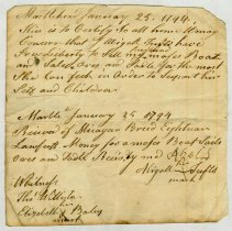 Image of RECEIPT, ABIGAIL TUFTS TO MICAYAR BREED FOR SAIL BOAT, WITNESSES; THOMAS WILLISTON & ELIZABETH BALEY - HANDWRITTEN RECEIPT.