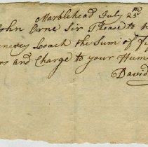 Image of RECEIPT, HENRY LEACH TO JOHN ORNE, PAYMENT OF DAVID BOWLEY DEBT - HANDWRITTEN RECEIPT.